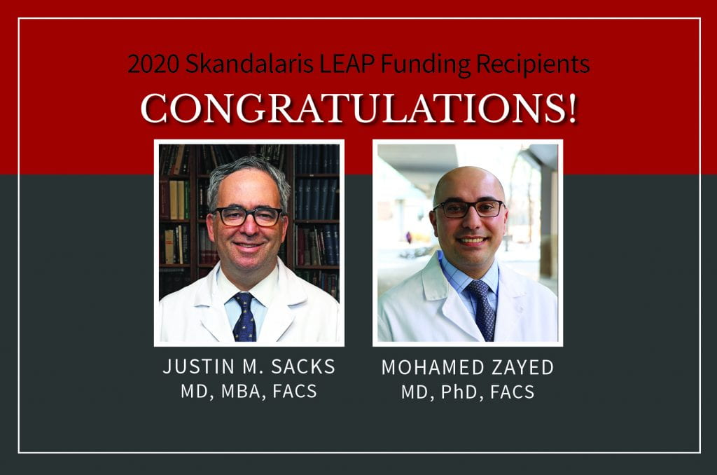 Justin Sacks, MD, MBA, and Mohamed Zayed, MD, PhD, Receive 2020 Skandalaris LEAP Funding