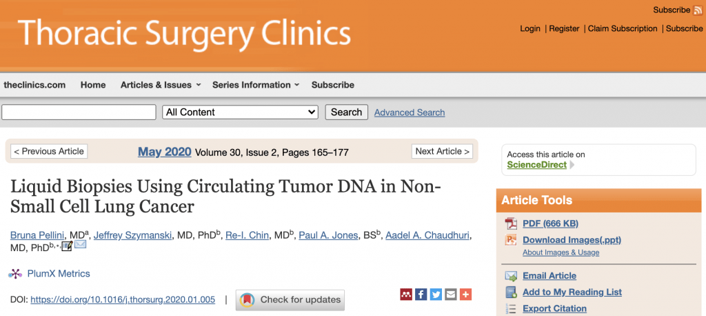 Bruna publishes a review article on ctDNA analysis in lung cancer