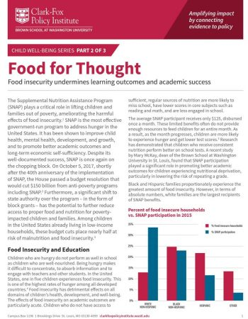 the front page of the second policy brief in the child well being series called Food for Thought
