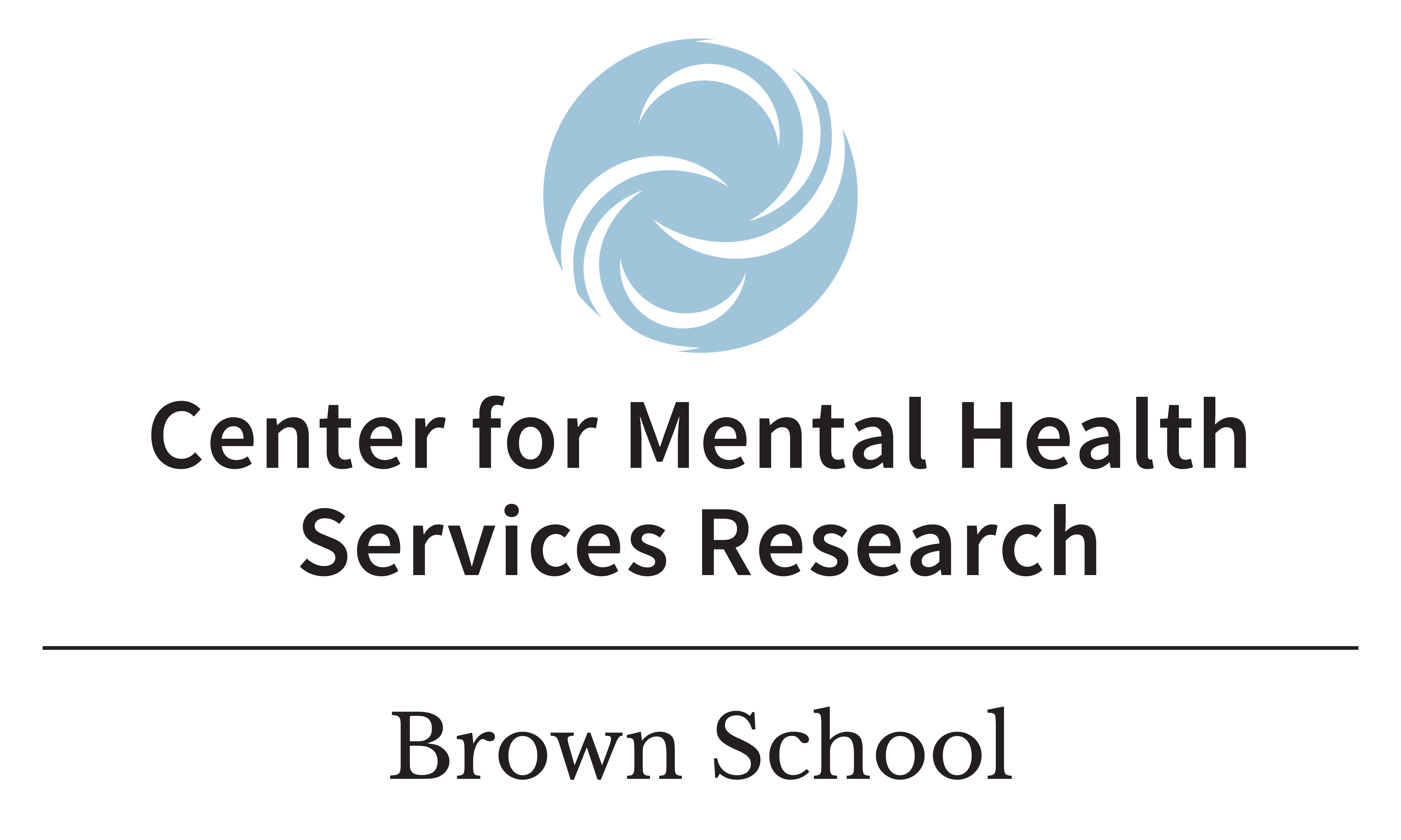 The logo for center for mental health services research has a blue circle with white swirls in it above the words