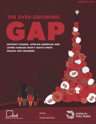 The cover of the report, the ever growing gap, shows a large pile of bags of money with an african american family looking up at it