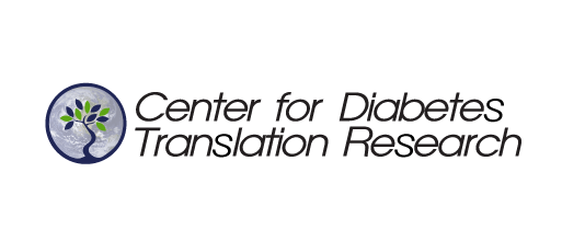 Logo for Center for Diabetes Translation Research has a small tree with green and blue leaves in a blue circle to t he left of the words