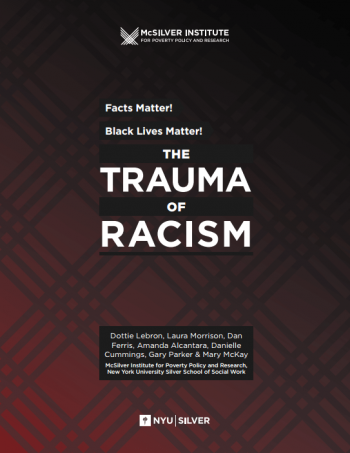 "The front of the report reads, ""Facts matter, Black lives matter!"" and ""the trauma of racism"" the cover is dark red fading into light red"