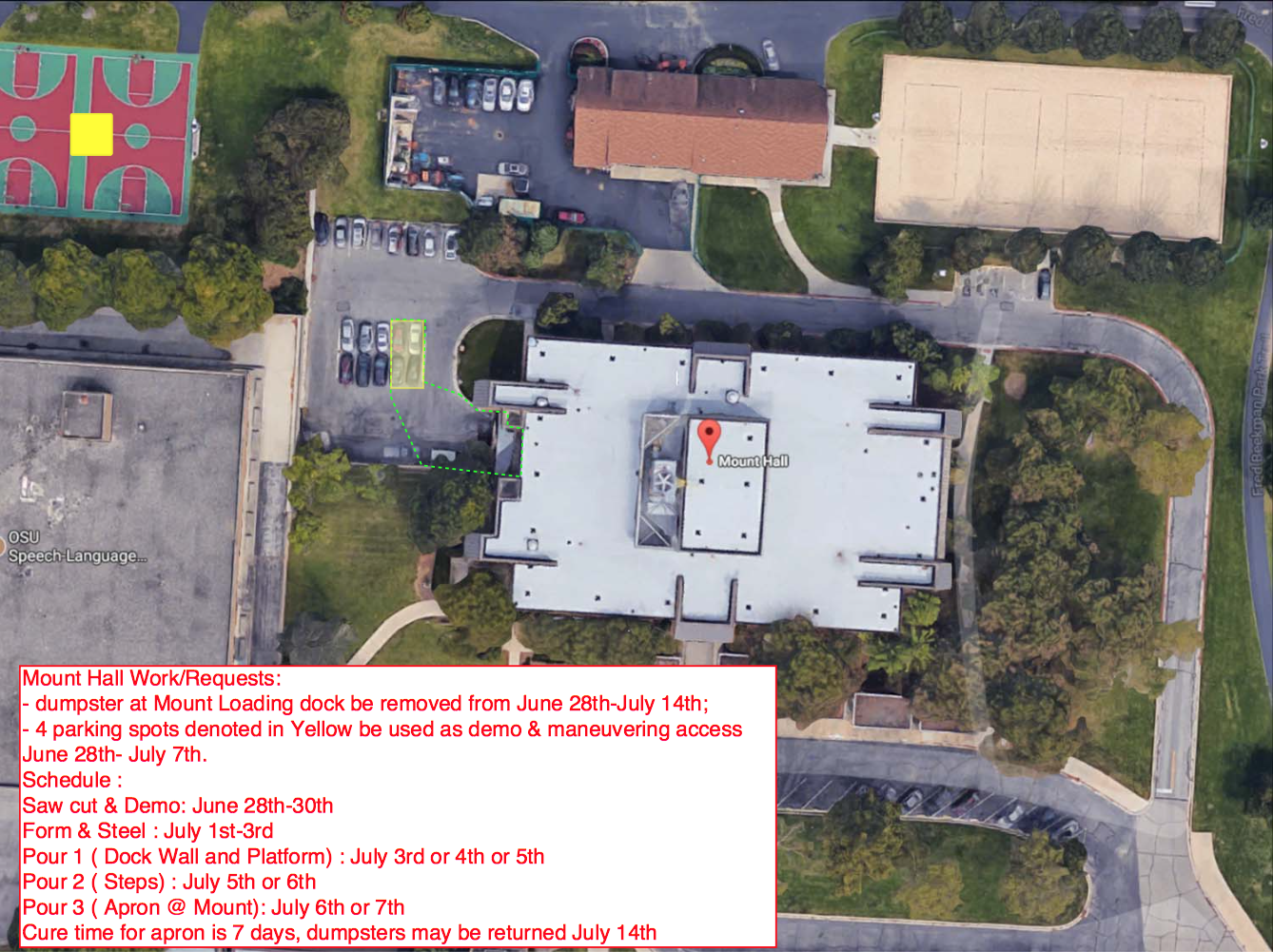 Mount Hall Loading dock parking closures