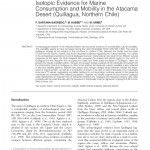 Paper titled Isotopic Evidence for Marine Consumption and Mobility in the Atacama Desert (Quillagua, Northern Chile).