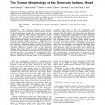 Paper titled The cranial morphology of the Botocudo Indians, Brazil.