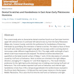 Paper titled Dental scratches and handedness in East Asian Pleistocene hominins.