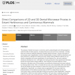 paper titled Direct comparisons of 2D and 3D dental microwear proxies in extant herbivorous and carnivorous mammals.