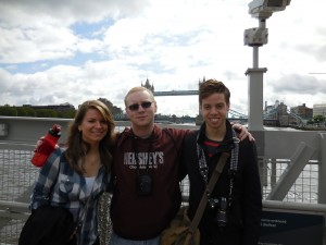 Selena Vlajic, me, and Henry Dolin getting onto the HMS Belfast.