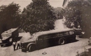 Grey busses used to transport patients from hospitals and asylums to killing centers as part of the Aktion T4 euthanasia program.