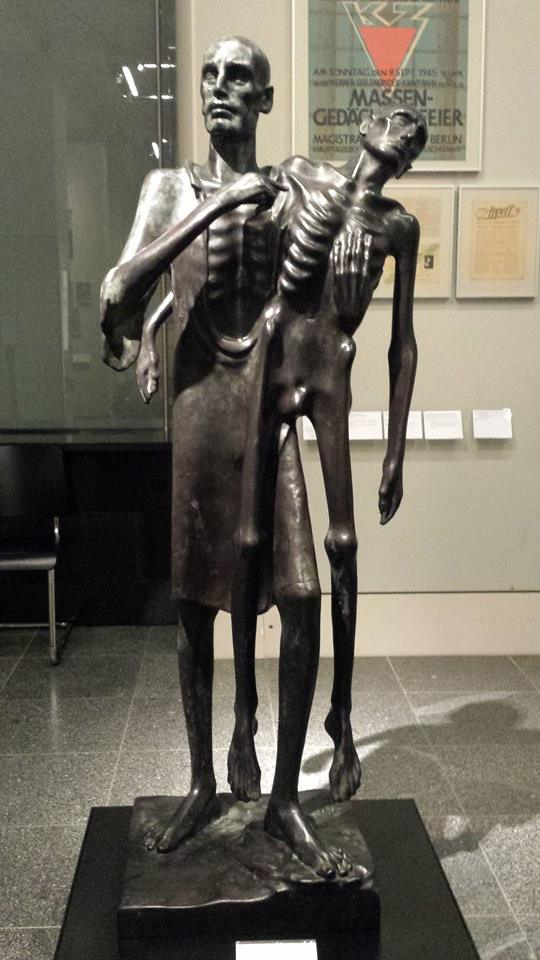 This was a sculpture of a communist rebuilding and supporting one another after World War II. The German museums frequenlty displayed pieces of art and other things that depicted a wide range of political beliefs and backgrounds other than only the popular or positive ones