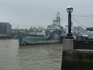 The HMS Belfast docked in the River Thames.