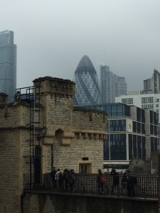 This is the Tower of London surrounded by modern architecture.