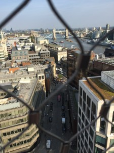 View from the top of the Monument looking out to the Tower Bridge.