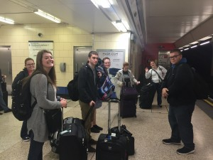 The Comrades attempting to catch the Tube at London Heathrow Airport