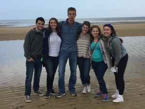 The group standing on Omaha beach