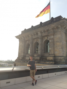 On top of the German Reichstag in Berlin.