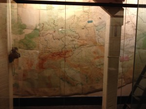A picture of one of the biggest maps in the War Rooms. This was located in an annex of the War Rooms and showed in great detail the advances and positions of the Germans and the Soviets at the time during the war.
