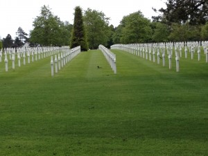 One of the rows of graves at the American Cemetery in Normandy