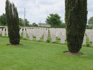 Rows of graves at the British Cemetery in Normandy