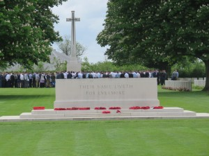 "Memorial at the British Cemetery in Normandy that reads ""Their Name Liveth For Evermore"""