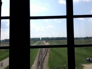 Picture of the railroad entering Auschwitz II - Birkenau.