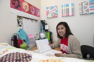 Student working in dorm room