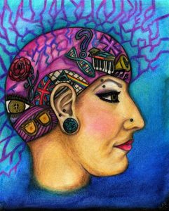 Artistic rendering of the side view of a woman with various things in her mind such as a rose, sunglasses, DNA, a button and more