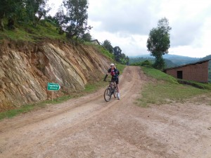 Author Cycling The Congo Nile Trail.