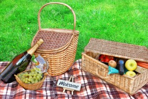 Picnic blanket, basket with food and wine, champagne, grape and sign WELCOME