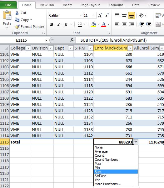 Picture of options available for total row