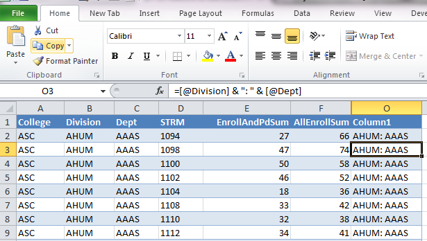 Picture of spreadsheet after automatic copy down