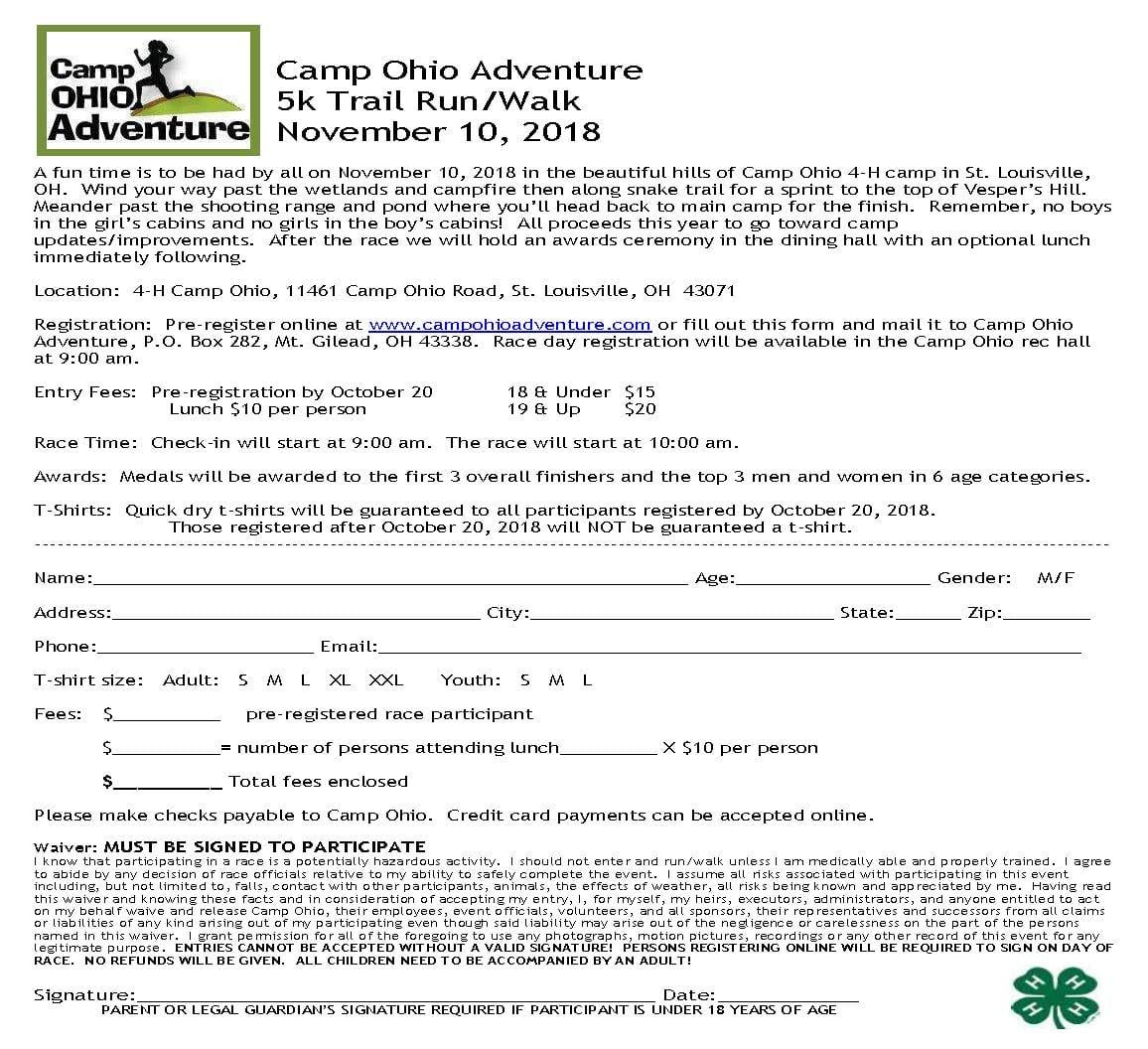 Camp Ohio Adventure 5K Trail Run/Walk | Knox County 4-H