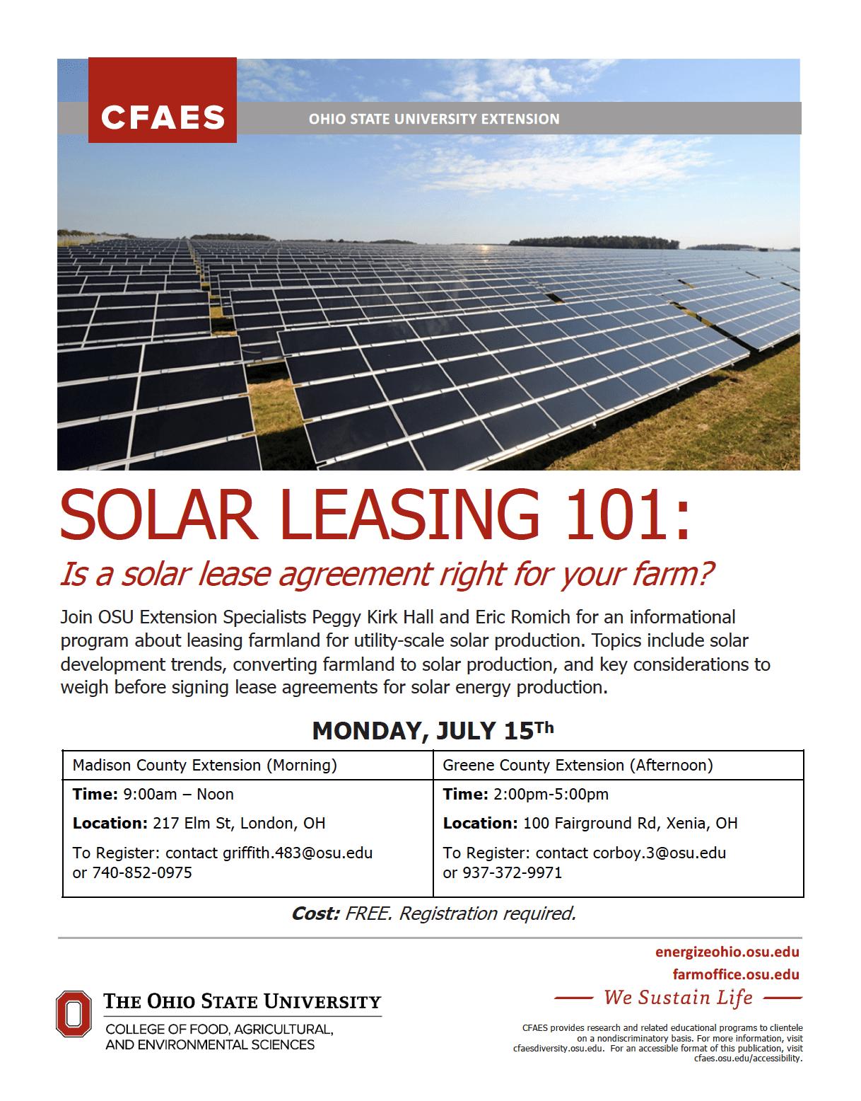 Solar Leasing 101 July 15 Osu Extension Greene County