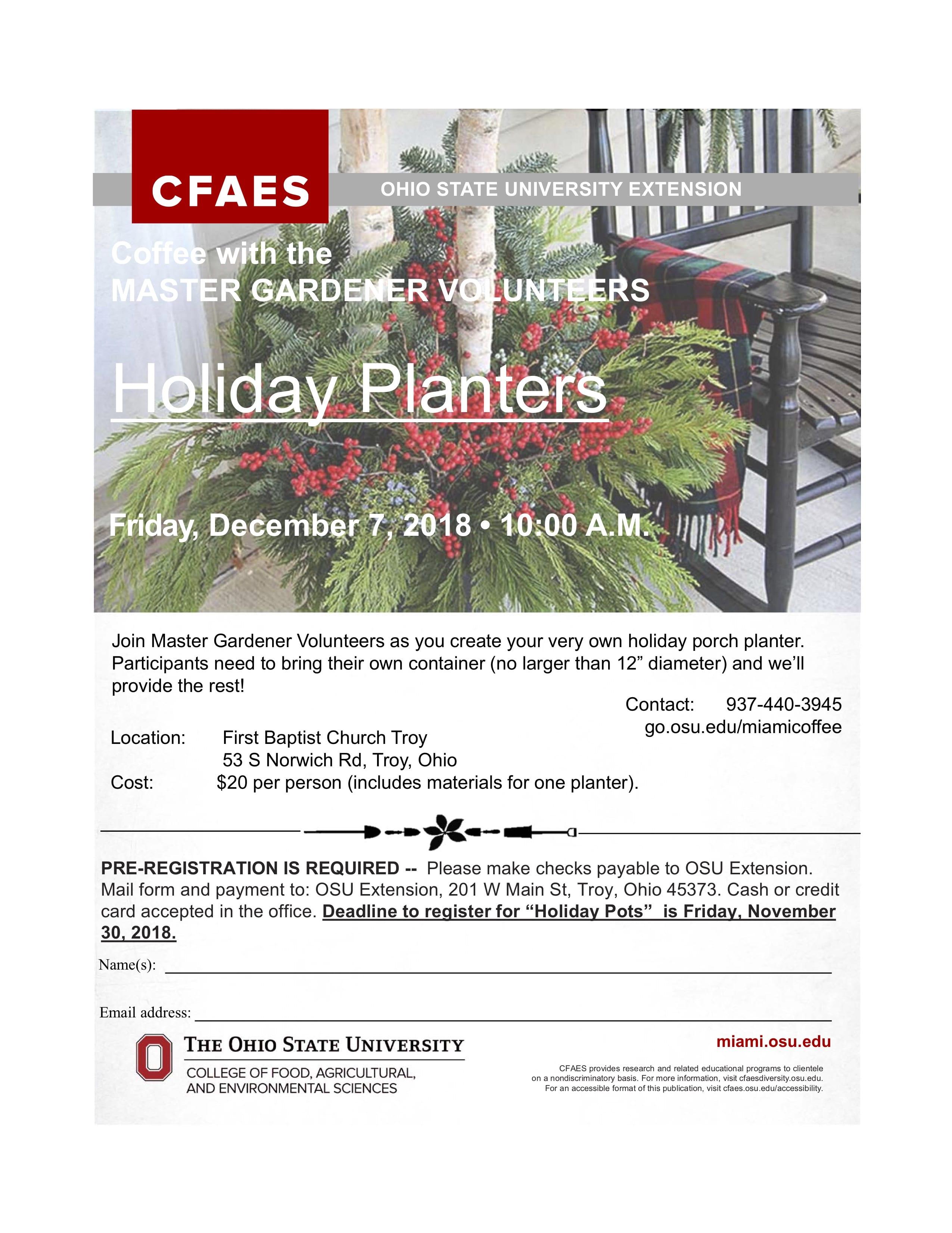 Create your own Holiday Planter with the Master Gardener ... on vermont garden, newcastle garden, amsterdam garden, paris garden,