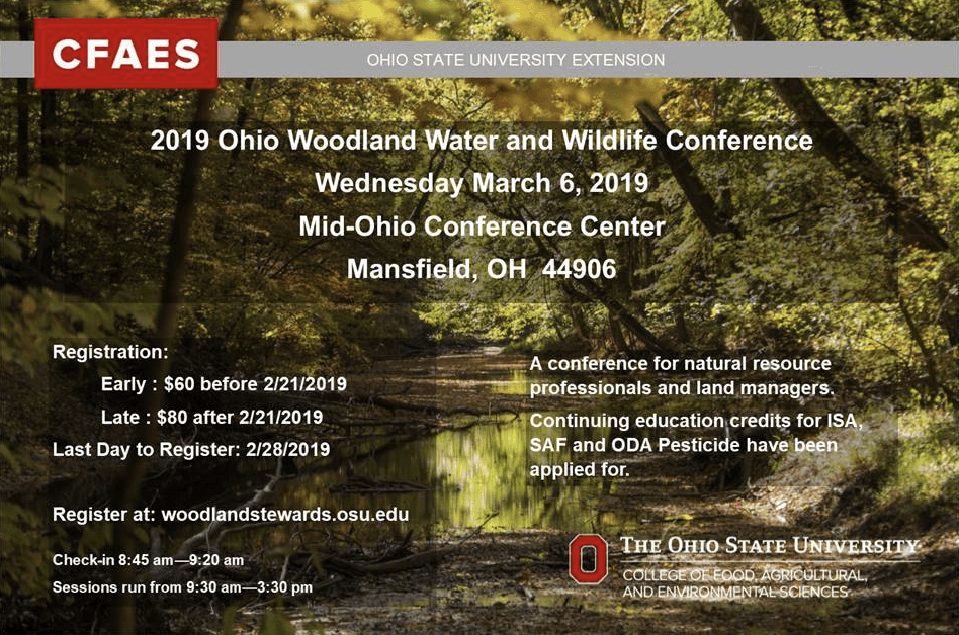 2019 Ohio Woodland Water and Wildlife Conference Flyer