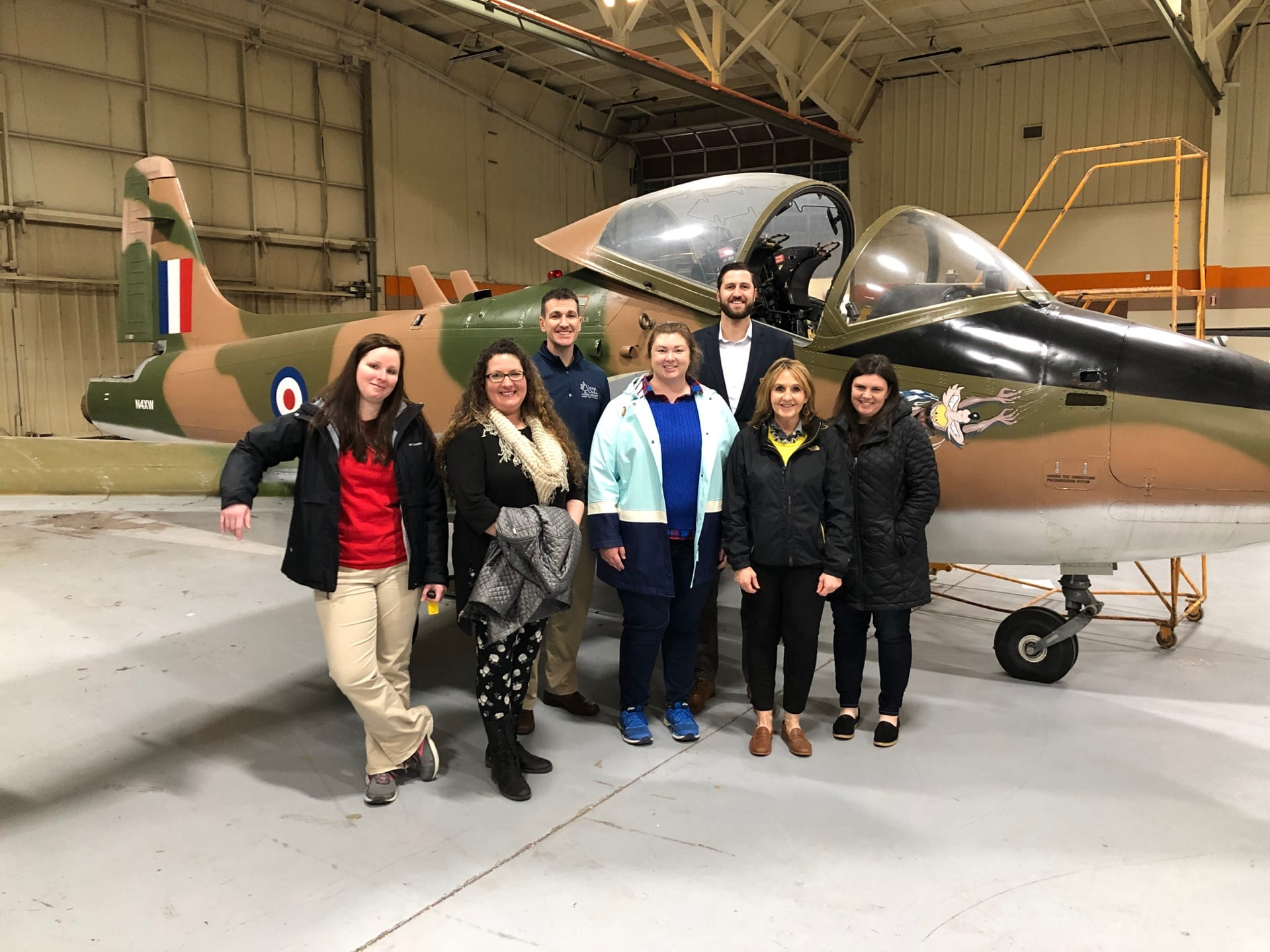 Leadership Highland participants at Laurel Oaks aviation hangar.