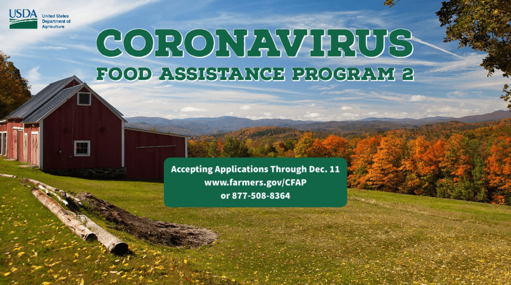 @USDA is now accepting applications for the Coronavirus Food Assistance Program 2 through Dec. 11, 2020. farmers.gov/CFAP #CFAP Contact the Highland County USDA FSA office to learn more.