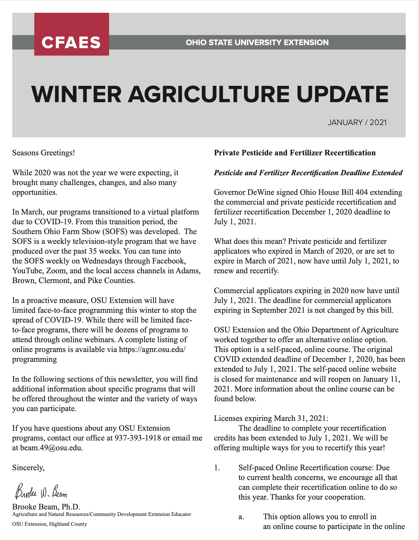 Winter Newsletter for Agriculture Programming