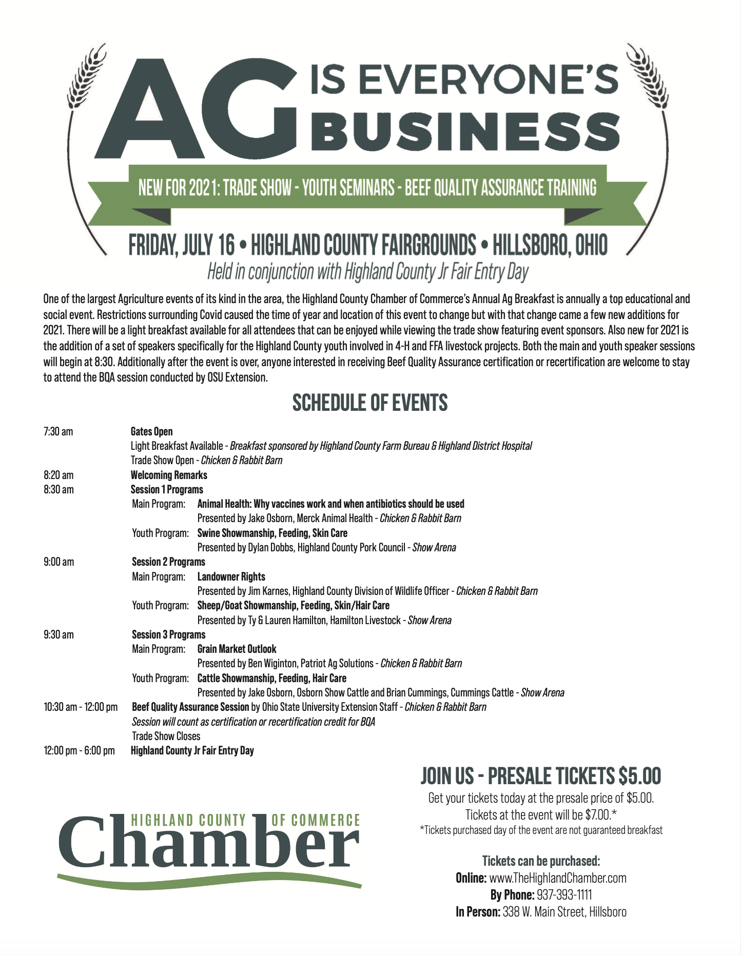 Highland County Chamber of Commerce's Ag is Everyone's Business Flyer