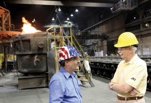 New OARDC research will benefit businesses like Columbus Castings, shown here, say OARDC's Nicholas Basta, left, and the Ohio Cast Metals Association's Russ Murray, right. (Photo: Ken Chamberlain, CFAES.)