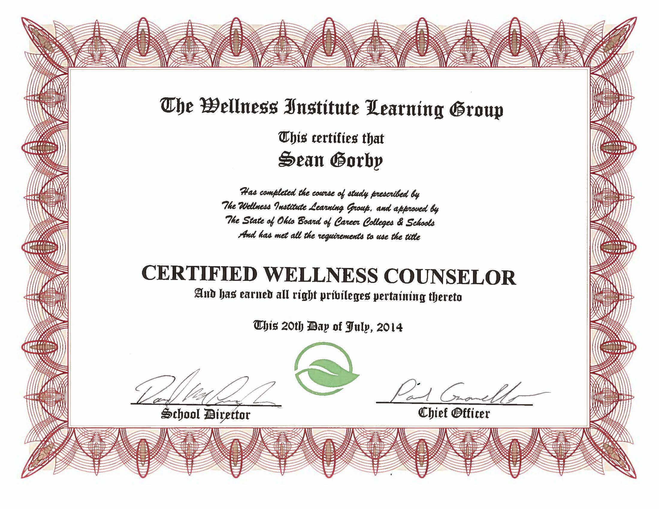 Certificates sean gorby certified wellness counseling august 2014 xflitez Choice Image