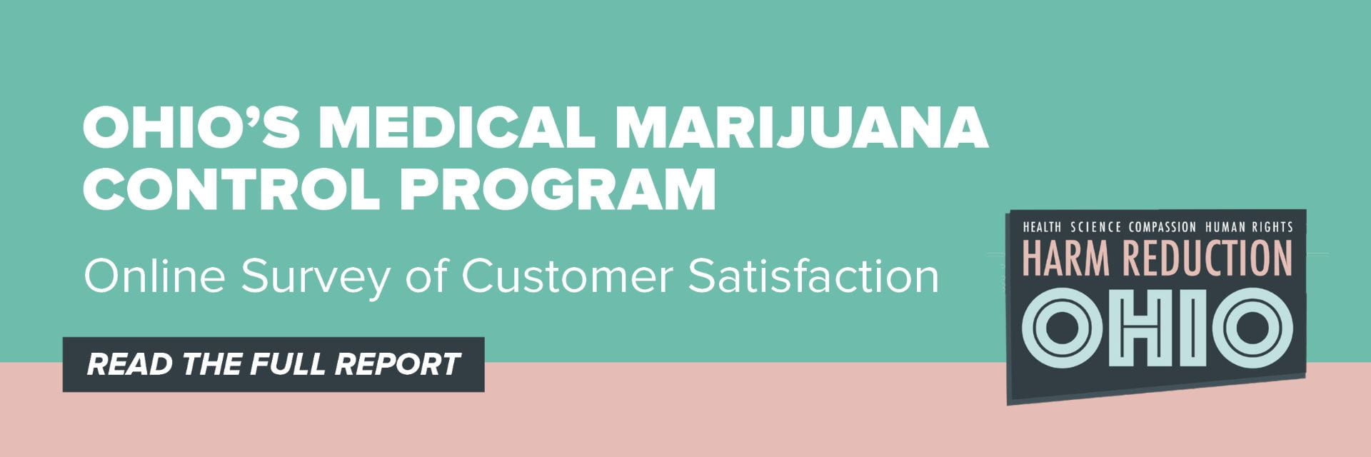 Graphic with teal background and Harm Reduction Ohio logo with text overly that reads Ohio's Medical Marijuana Control Program Online Survey of Customer Satisfaction