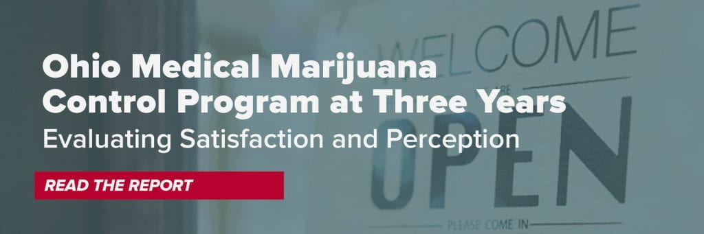 Image of a retail store and an open sign with text overly reading Ohio Medical Marijuana Control Program at Three Years: Evaluating Satisfaction and Perception