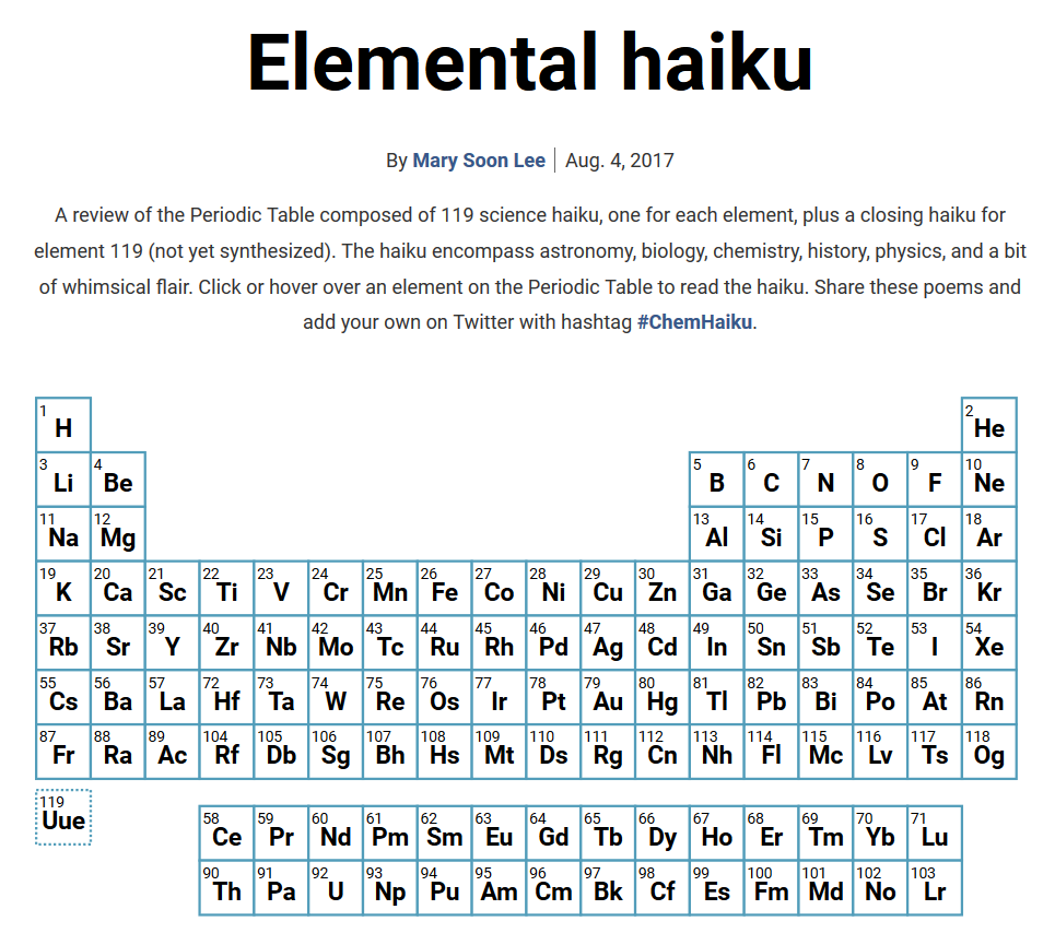 Haiku Periodic Table Cbc Undergraduate Program
