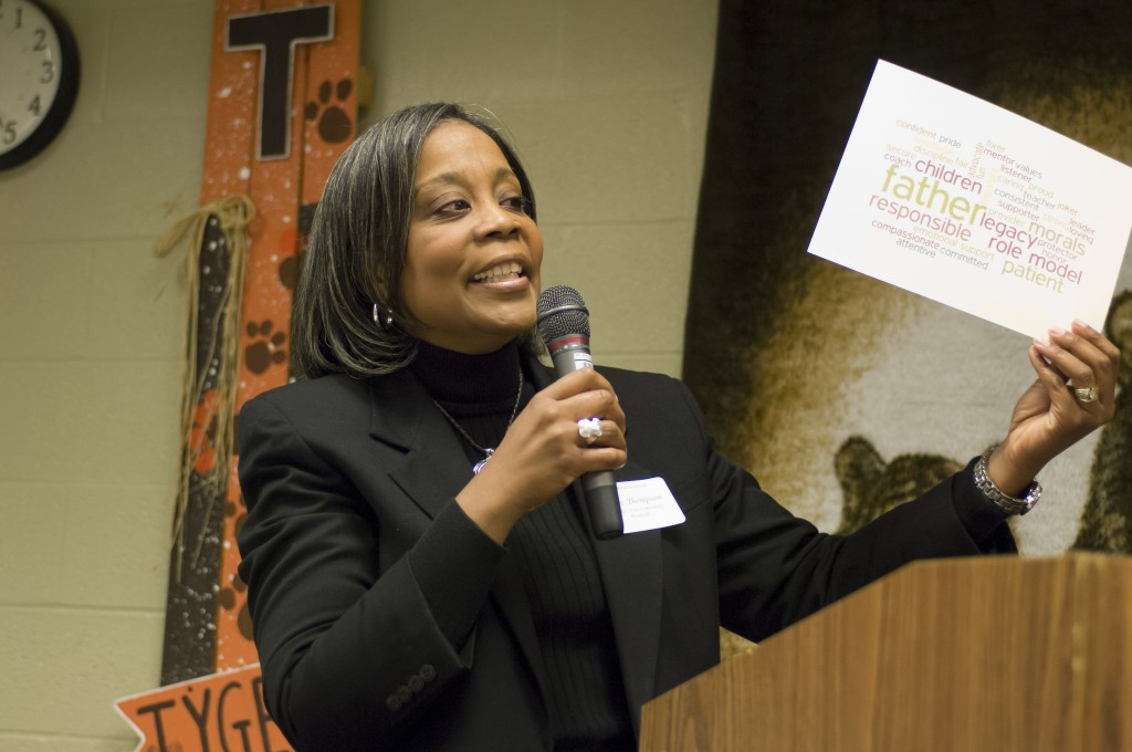 Renee Thompson, Ohio State Mansfield Family Engagement and Outreach Coordinator, explains the Fatherhood Initiative to a group of community leaders.