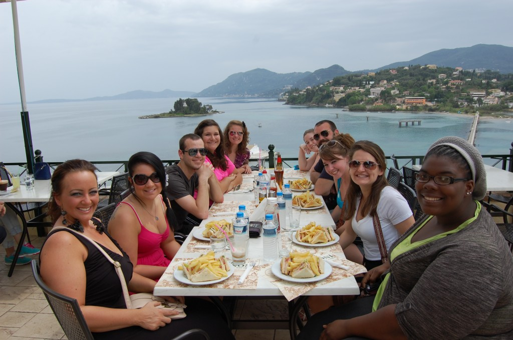 Students from Steven Joyce's study abroad class last May gather for lunch in Corfu, Greece.