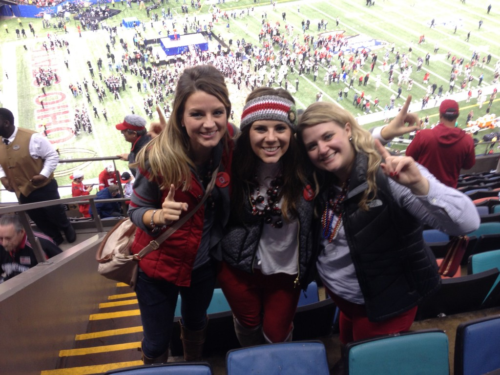 ACEL alumni Emily Wickham ('07) Molly Wickham ('13) and Cara Lawson ('06, '14) after a Sugar Bowl victory.