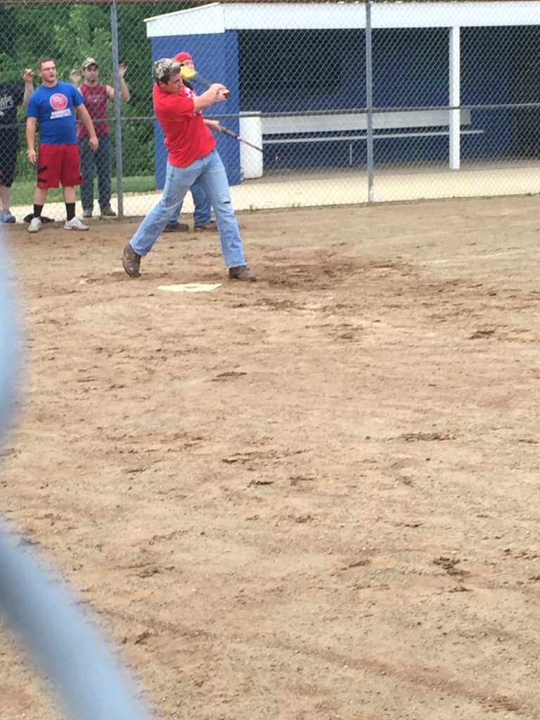 Norris enjoys a softball game during a chapter meeting of the West Holmes FFA.