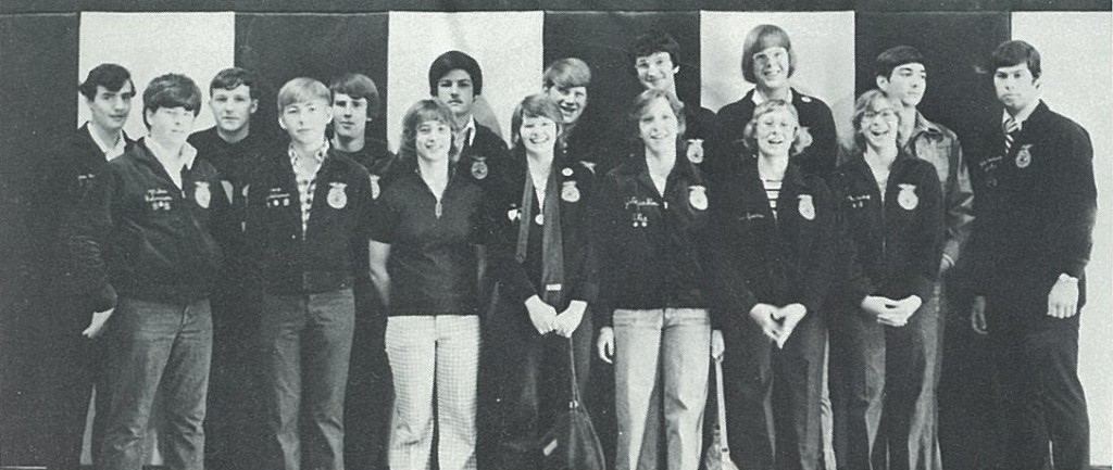 Dr. Whittington, posing with the members of her FFA chapter, was one of a few females in her chapter.